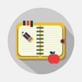 Open notitieboekjepictogram met lange schaduw op grijze achtergrond Stock Illustratie