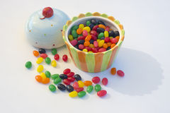 Open Novelty Candy Bowl. Novelty candy bowl shaped like ice cream, open with jelly beans Royalty Free Stock Image