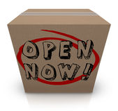 Open Now Cardboard Box Urgency Immediate Action Required Stock Photography