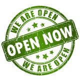 Open now stamp Stock Images