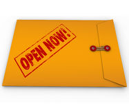Open Now Yellow Envelope Urgent Critical Information Stock Photo