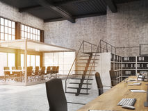 Open office with aquarium meeting room and bookcases, toned Stock Image