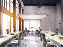 Open office with glass board room in New York, toned Royalty Free Stock Photo