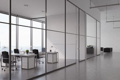 Open office with glass wall Royalty Free Stock Image