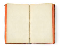 Open oid book. Open old book with blank pages isolated on white background stock photography