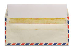 Open old airmail envelope with blank letter Stock Image