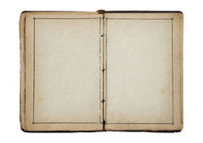 Open old blank book. With clipping path Stock Photos