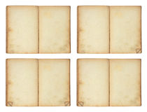 Open old blank book, 4 versions. Open old blank book isolated on white Stock Image