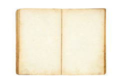 Open old blank book. Isolated on white Royalty Free Stock Photo