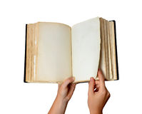 Open old blank book in hands Royalty Free Stock Photography