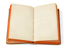 Open old book. Open book with blank pages isolated on white background royalty free stock images