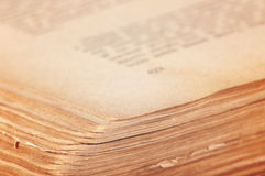Open old book. Open thick yellowed old book Stock Images