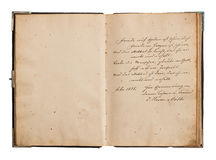 Open old book with antique german text Royalty Free Stock Photo