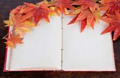 Open old book and Artificial autumn maple leafs. Royalty Free Stock Photography
