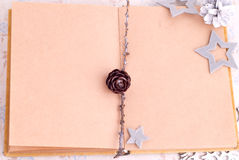 Open old book with brown paper, cones and felt stars Royalty Free Stock Image