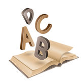 Open Old Book and Flying Brown Letters Stock Images