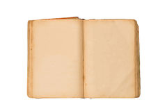 Open old book isolated, vintage book with blank yellow stained pages. Stock Photos