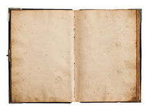 Open old book isolated on white Royalty Free Stock Photo