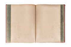 Open old book isolated on white background. Grungy paper texture Stock Images