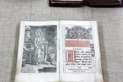 Open old book stock photos