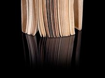 Open old book with vintage pages reflected Royalty Free Stock Photo