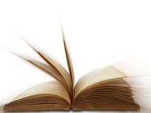 Open old book on white background. Isolated Royalty Free Stock Photo