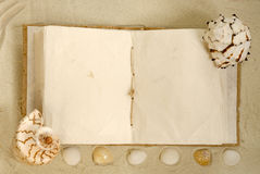 Open Old Book With Seashells On The Sand Royalty Free Stock Image