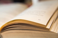 Open old book. Yellowed pages. Page number 271. Paper texture. Macro.  Royalty Free Stock Image
