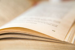 Open old book. Yellowed pages. Page number 231. Paper texture. Macro.  Stock Image