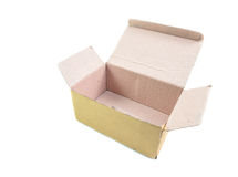 Open old brown paper box Stock Images