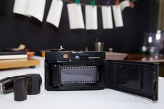 Open old camera with film Stock Photography