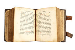 Open old cyrillic book isolated on white Royalty Free Stock Photo