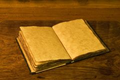 Open old diary or notebook. Royalty Free Stock Image