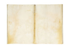 Open old and dirty blank exercise book. Isolated on white Royalty Free Stock Photo