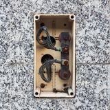 Open old electric plastic joint junction box Stock Photography
