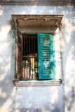 Open old green window Stock Photo