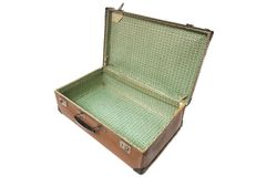 Open old leather suitcase Stock Images