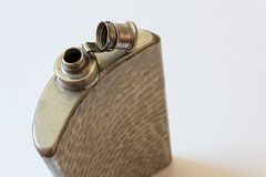 Open old metal flask on a diagonal, drinking alcoholism addiction concept. Copy space, horizontal aspect Stock Images