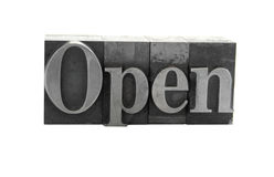 'Open' in old metal type Stock Image