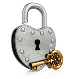 Open old padlock with gold key Stock Photos