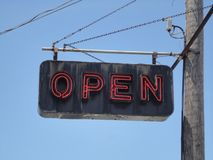 `Open`: an old school neon sign royalty free stock photo