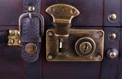 Open old suitcase, close up Stock Images
