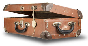 Open old suitcase isolated on white Royalty Free Stock Photography