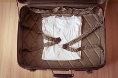 Open old suitcases. Brown retro suitcase. Vintage baggage Stock Photos