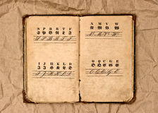 Open old vintage alphabet book royalty free stock images