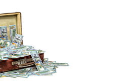 Open old vintage suitcase full of money, business concept Royalty Free Stock Photo