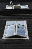 Open old windows. In an old building Royalty Free Stock Photos
