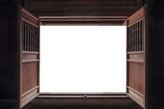 Open Old Wooden Door And White Background Stock Photo