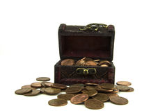 Open old wooden treasure chest with coins Royalty Free Stock Photo
