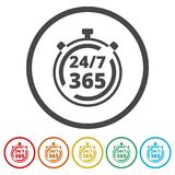 Open 24/7 - 365, 24/7 365, 24/7 365 ondertekenen, 6 Inbegrepen Kleuren Stock Afbeeldingen